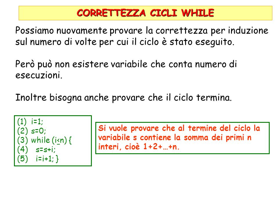 CORRETTEZZA CICLI WHILE