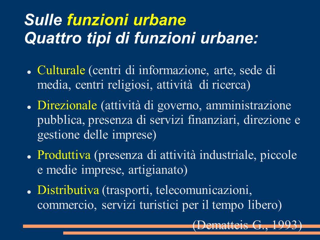 Sulle funzioni urbane Quattro tipi di funzioni urbane: