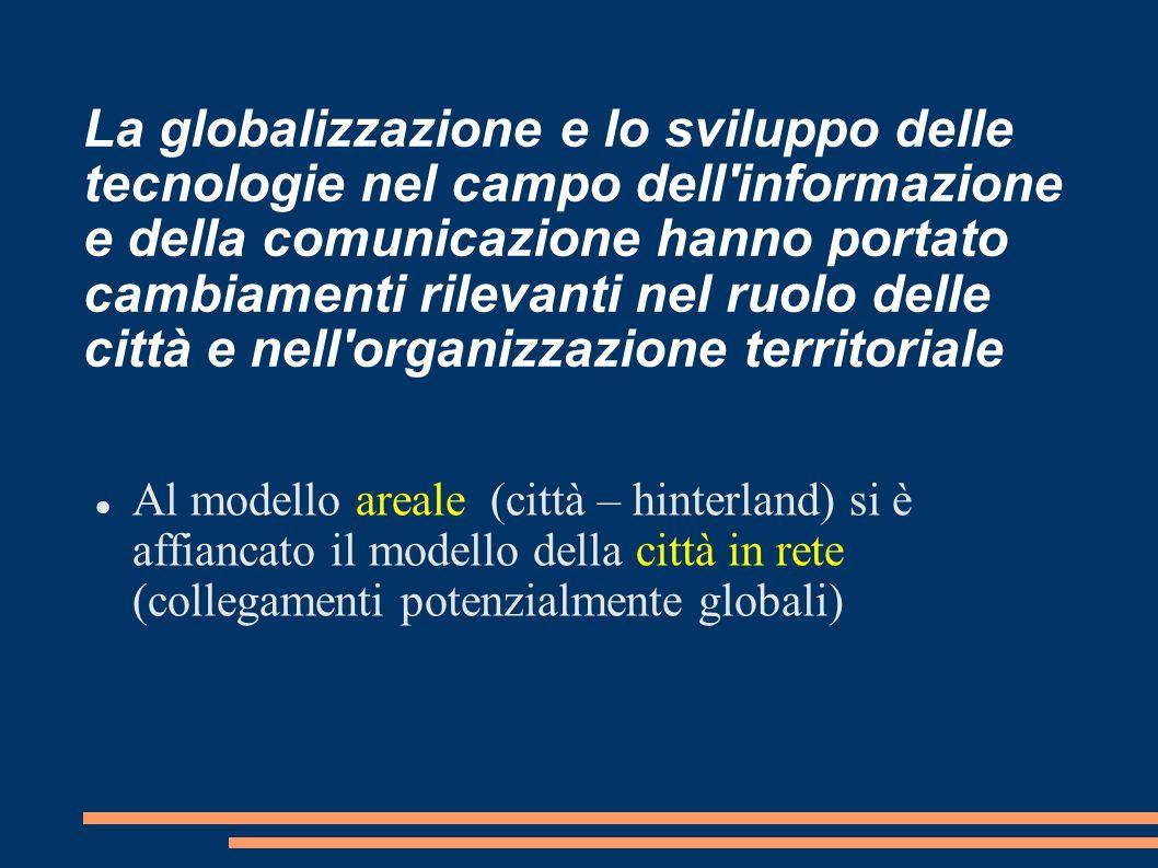 La globalizzazione e lo sviluppo delle tecnologie nel campo dell informazione e della comunicazione hanno portato cambiamenti rilevanti nel ruolo delle città e nell organizzazione territoriale