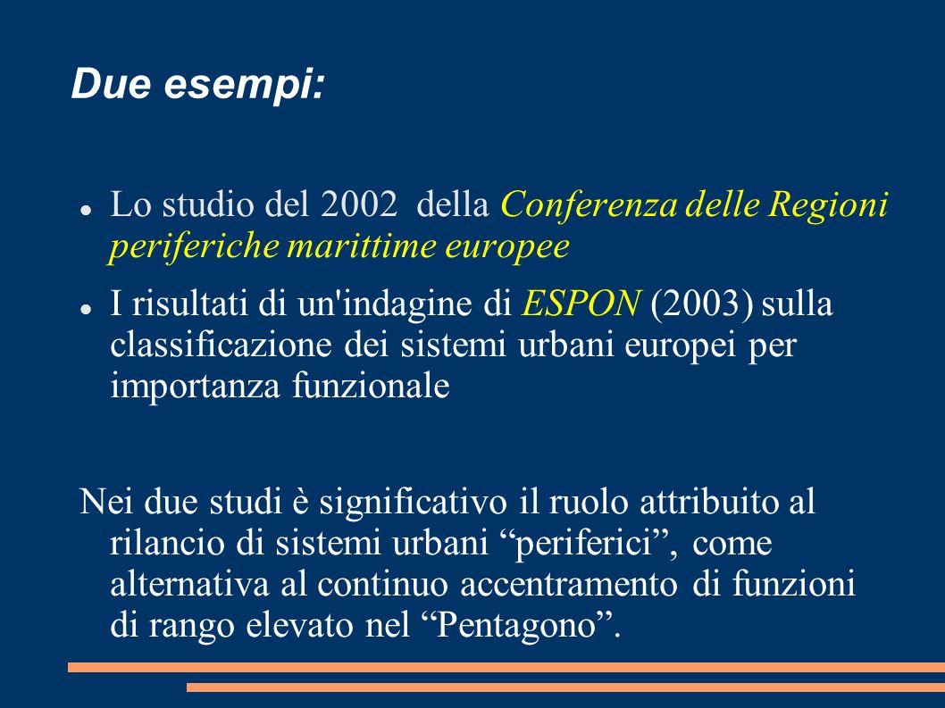Due esempi: Lo studio del 2002 della Conferenza delle Regioni periferiche marittime europee.