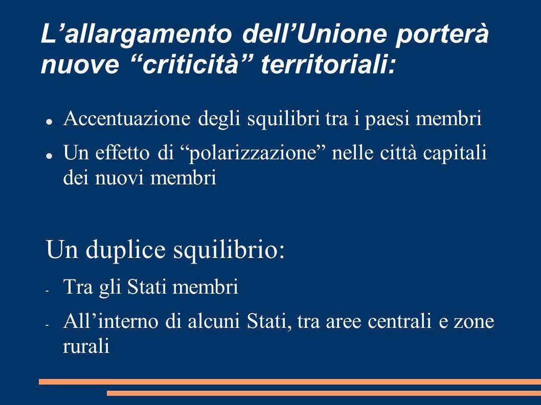 L'allargamento dell'Unione porterà nuove criticità territoriali: