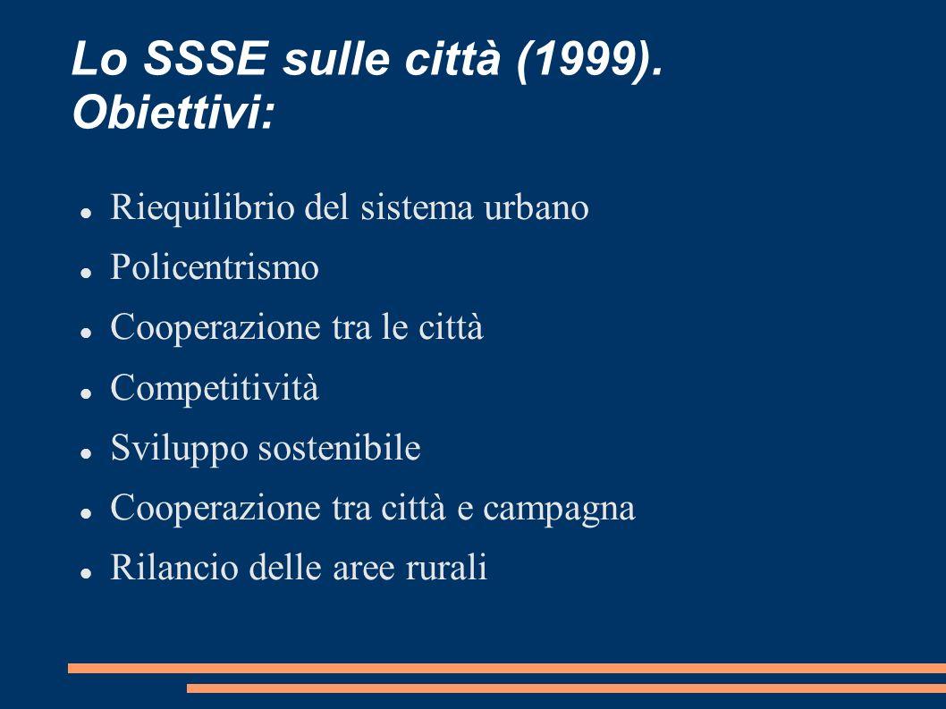 Lo SSSE sulle città (1999). Obiettivi: