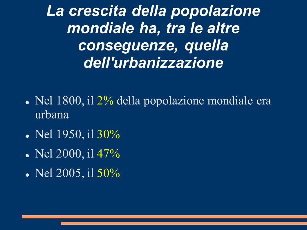 La crescita della popolazione mondiale ha, tra le altre conseguenze, quella dell urbanizzazione