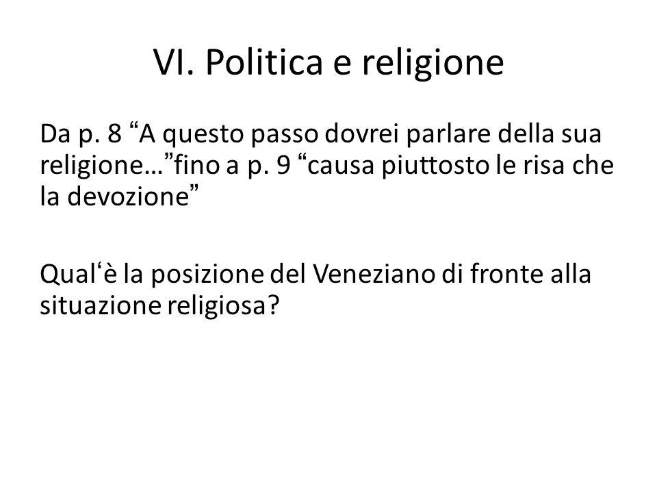 VI. Politica e religione