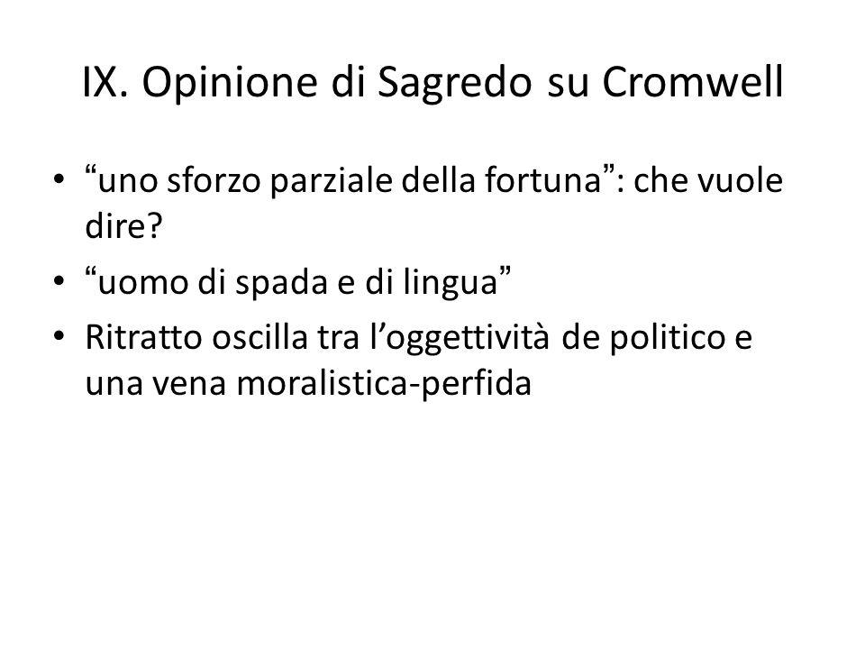 IX. Opinione di Sagredo su Cromwell