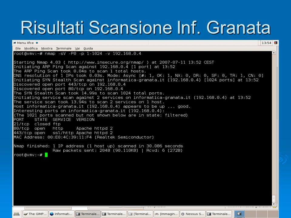 Risultati Scansione Inf. Granata
