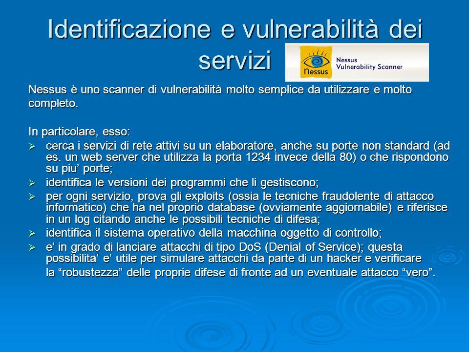 Identificazione e vulnerabilità dei servizi