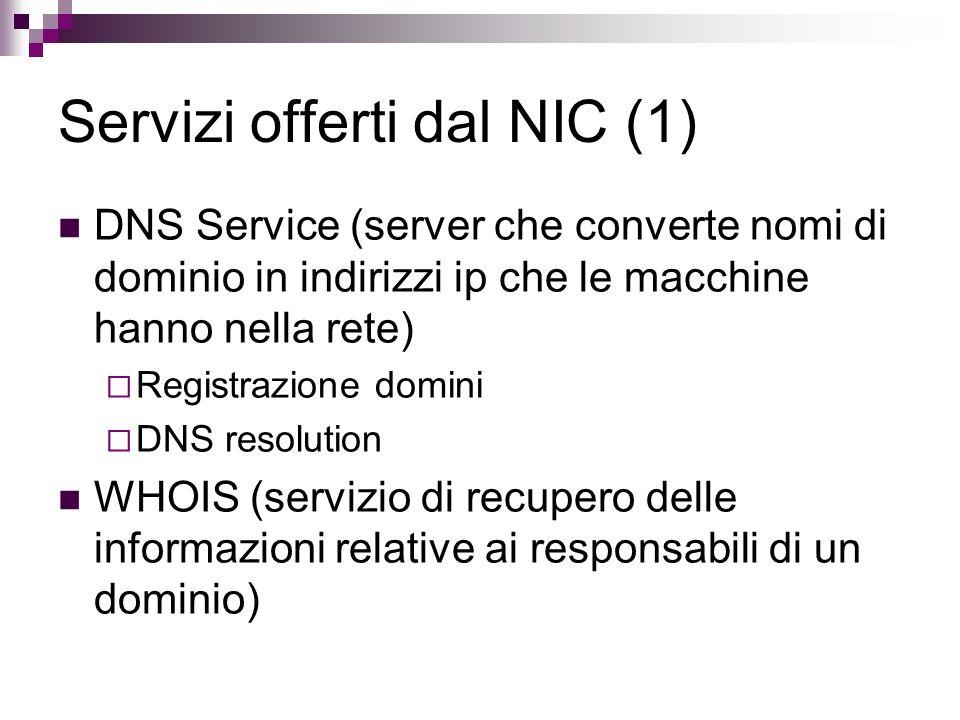 Servizi offerti dal NIC (1)