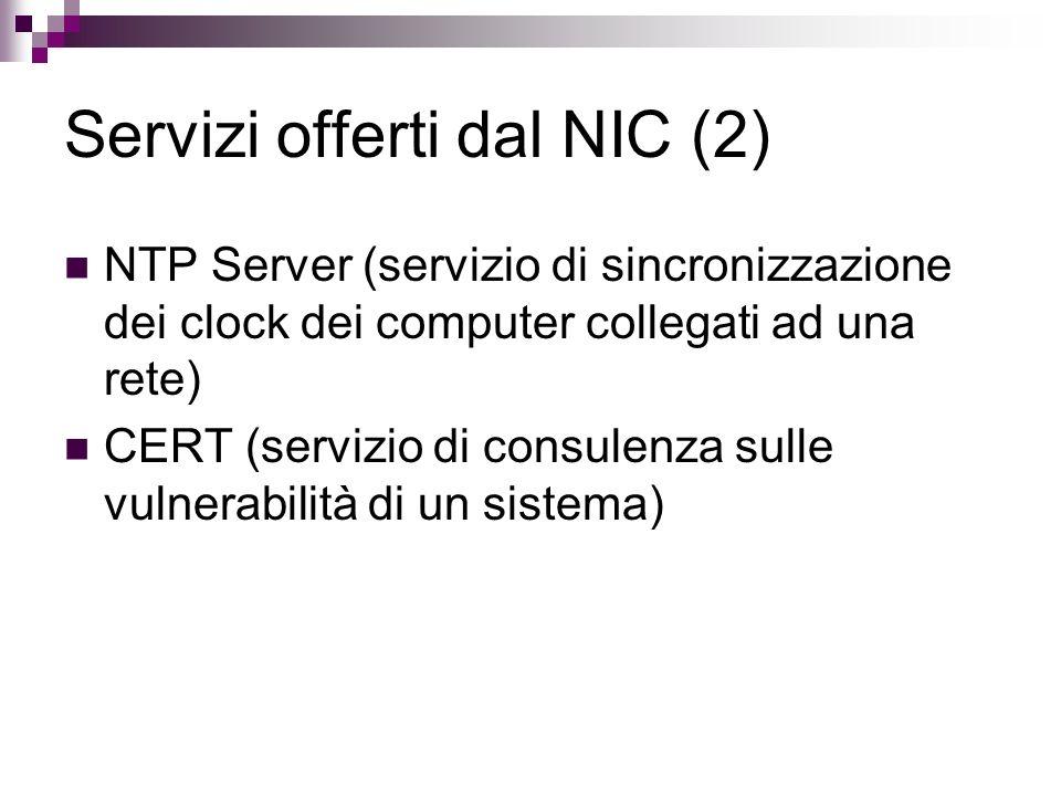 Servizi offerti dal NIC (2)