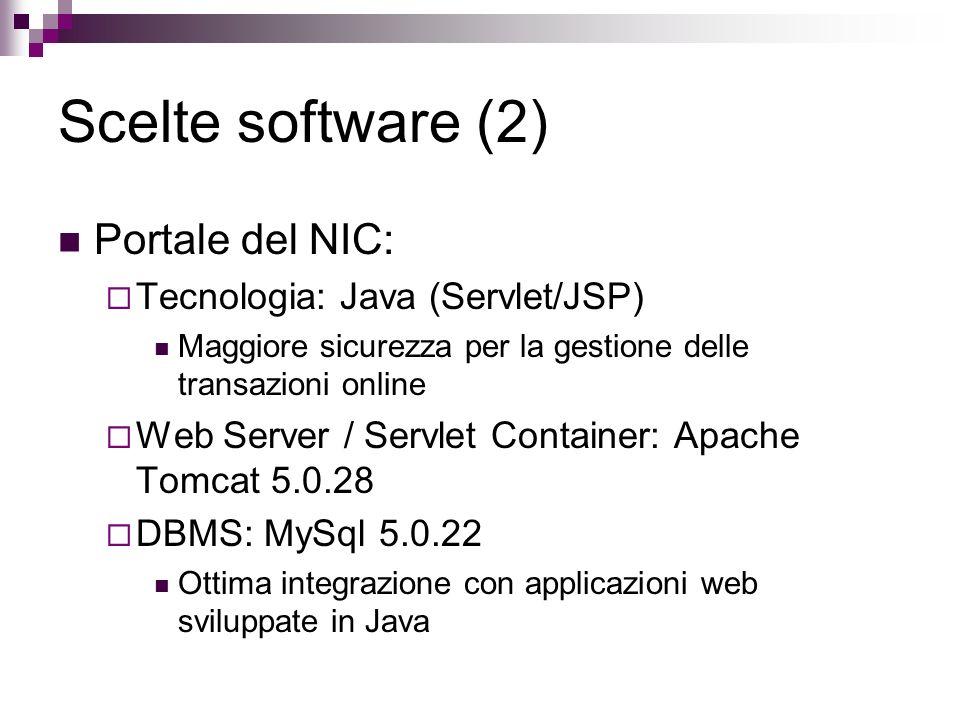 Scelte software (2) Portale del NIC: Tecnologia: Java (Servlet/JSP)