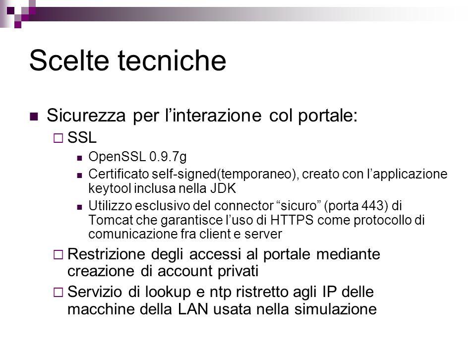 Scelte tecniche Sicurezza per l'interazione col portale: SSL
