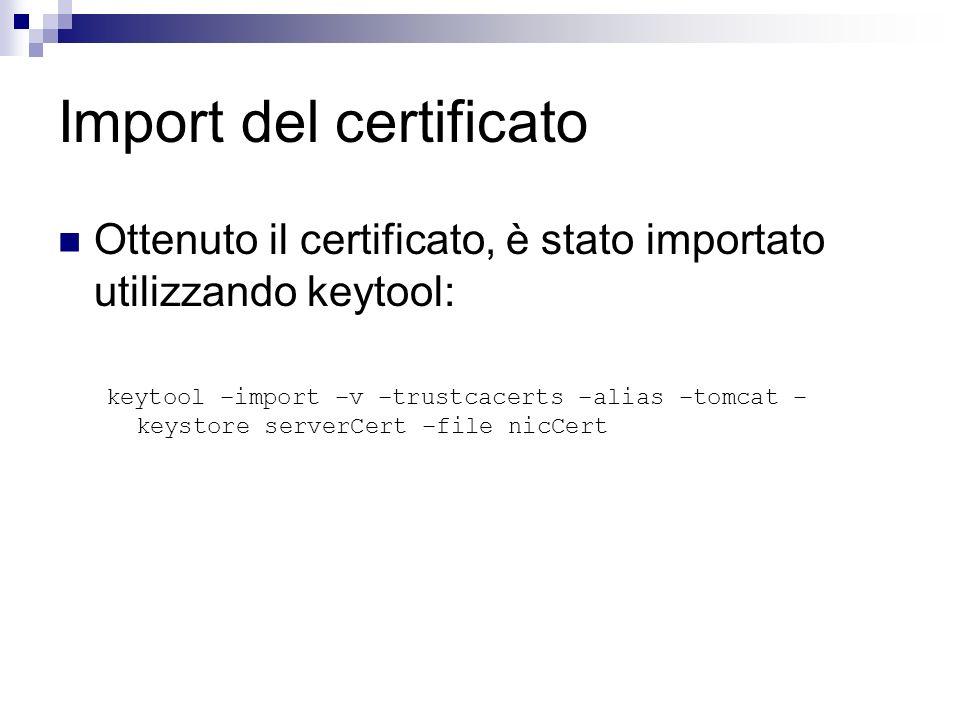 Import del certificato