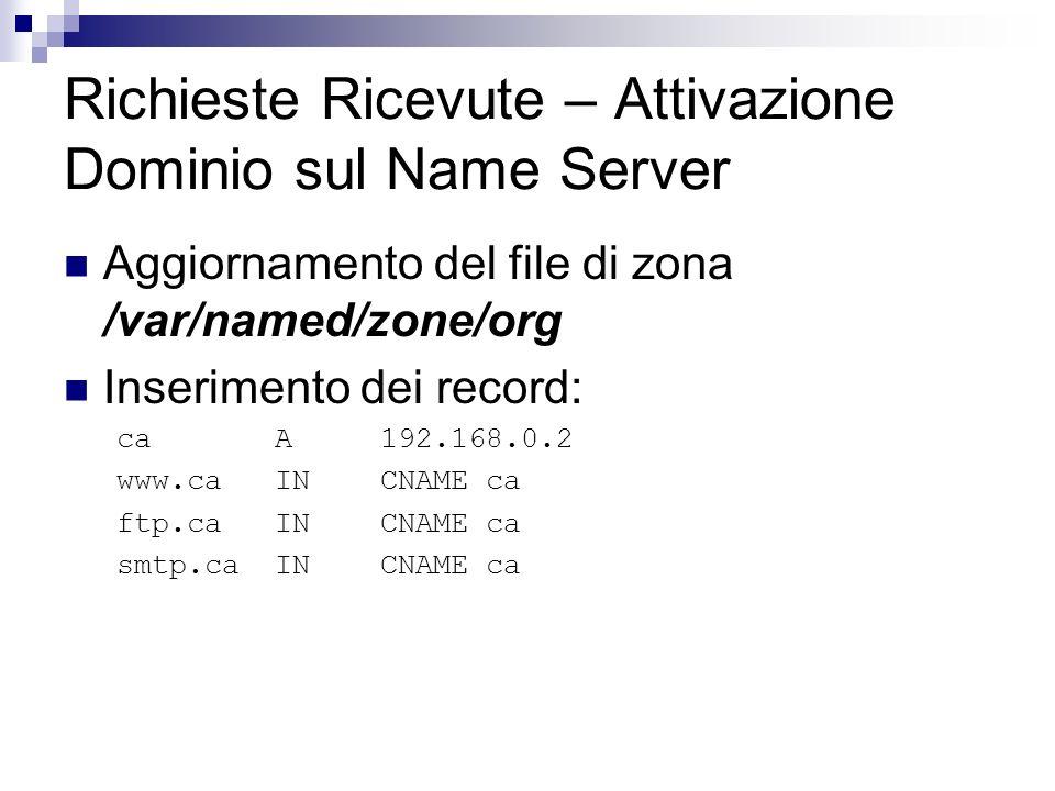 Richieste Ricevute – Attivazione Dominio sul Name Server