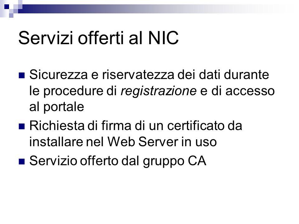 Servizi offerti al NIC Sicurezza e riservatezza dei dati durante le procedure di registrazione e di accesso al portale.