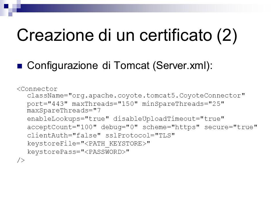 Creazione di un certificato (2)