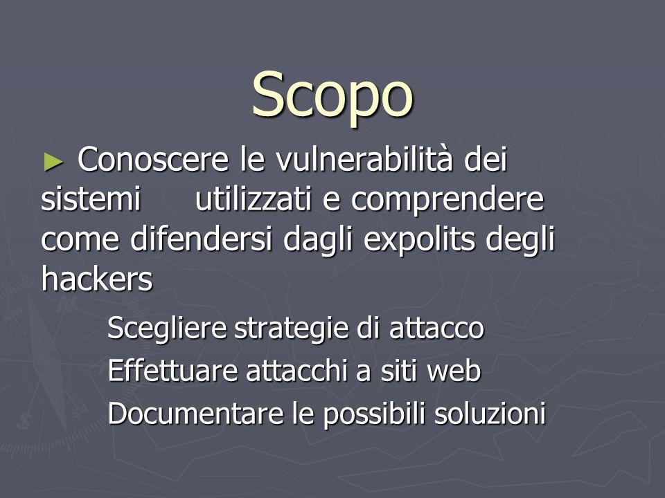Scopo Conoscere le vulnerabilità dei sistemi utilizzati e comprendere come difendersi dagli expolits degli hackers.