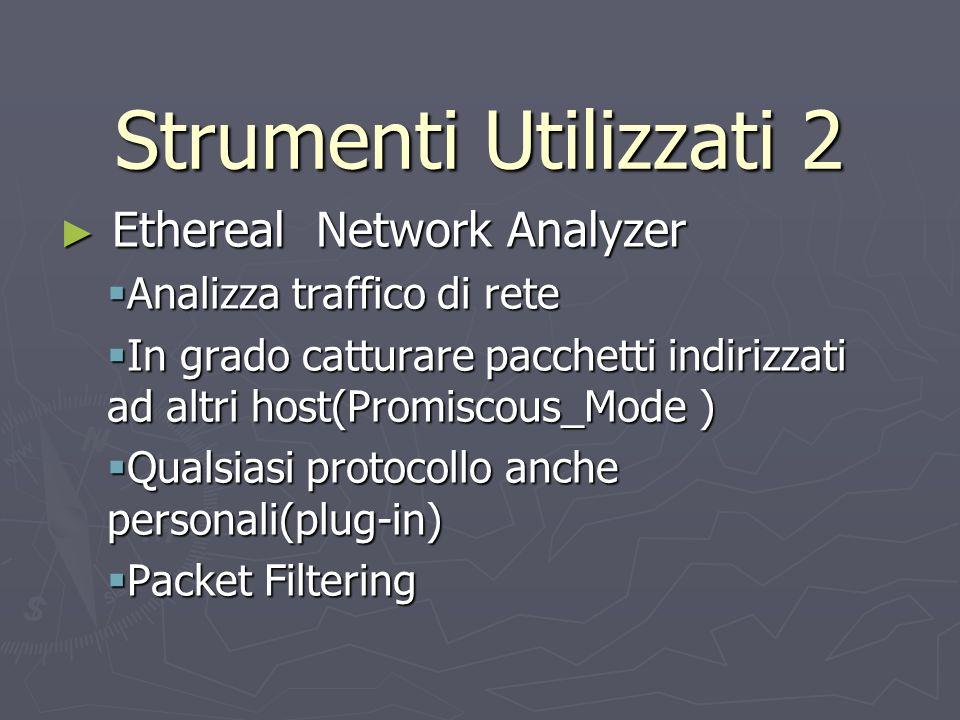 Strumenti Utilizzati 2 Ethereal Network Analyzer