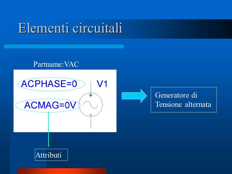 Elementi circuitali Partname:VAC Generatore di Tensione alternata