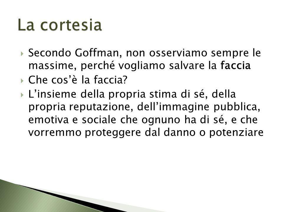 La cortesia Secondo Goffman, non osserviamo sempre le massime, perché vogliamo salvare la faccia. Che cos'è la faccia
