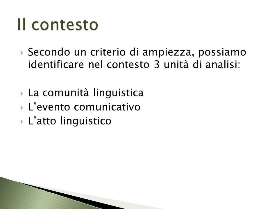 Il contesto Secondo un criterio di ampiezza, possiamo identificare nel contesto 3 unità di analisi: