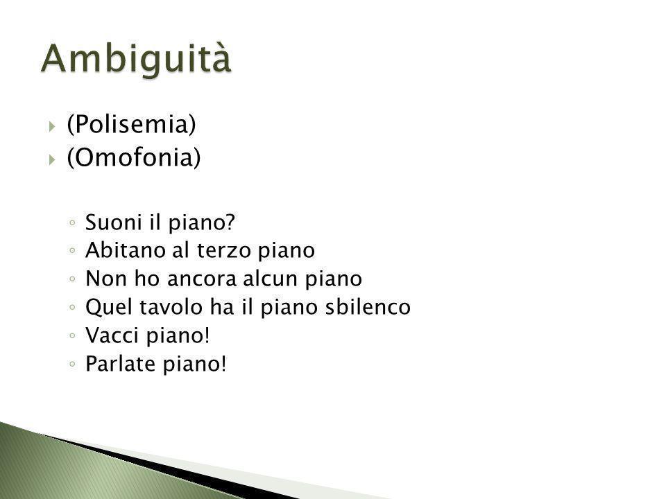 Ambiguità (Polisemia) (Omofonia) Suoni il piano