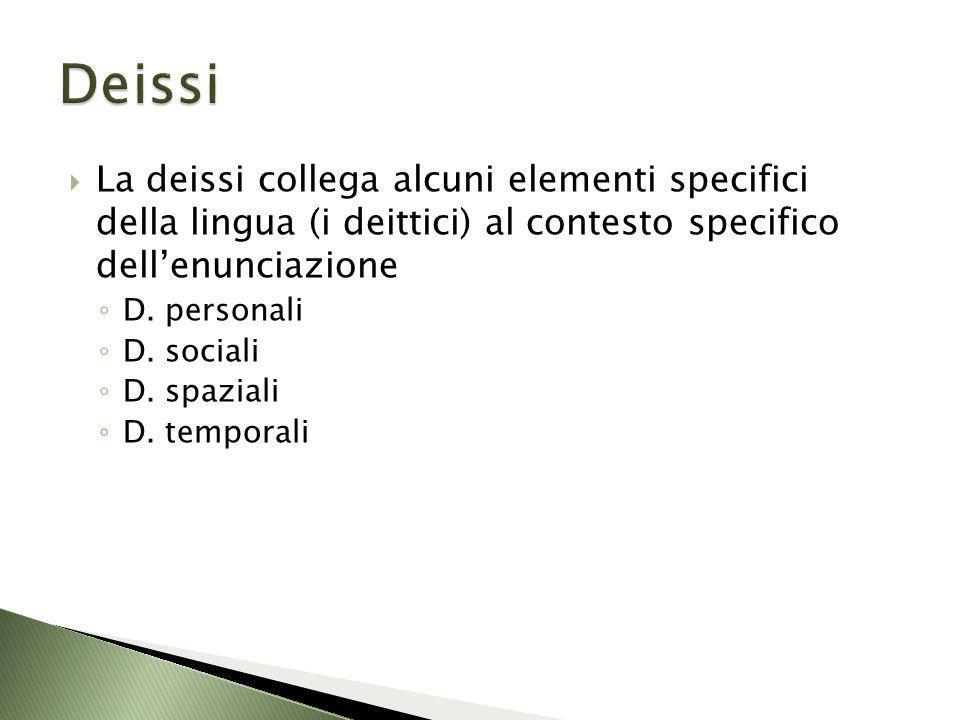 Deissi La deissi collega alcuni elementi specifici della lingua (i deittici) al contesto specifico dell'enunciazione.