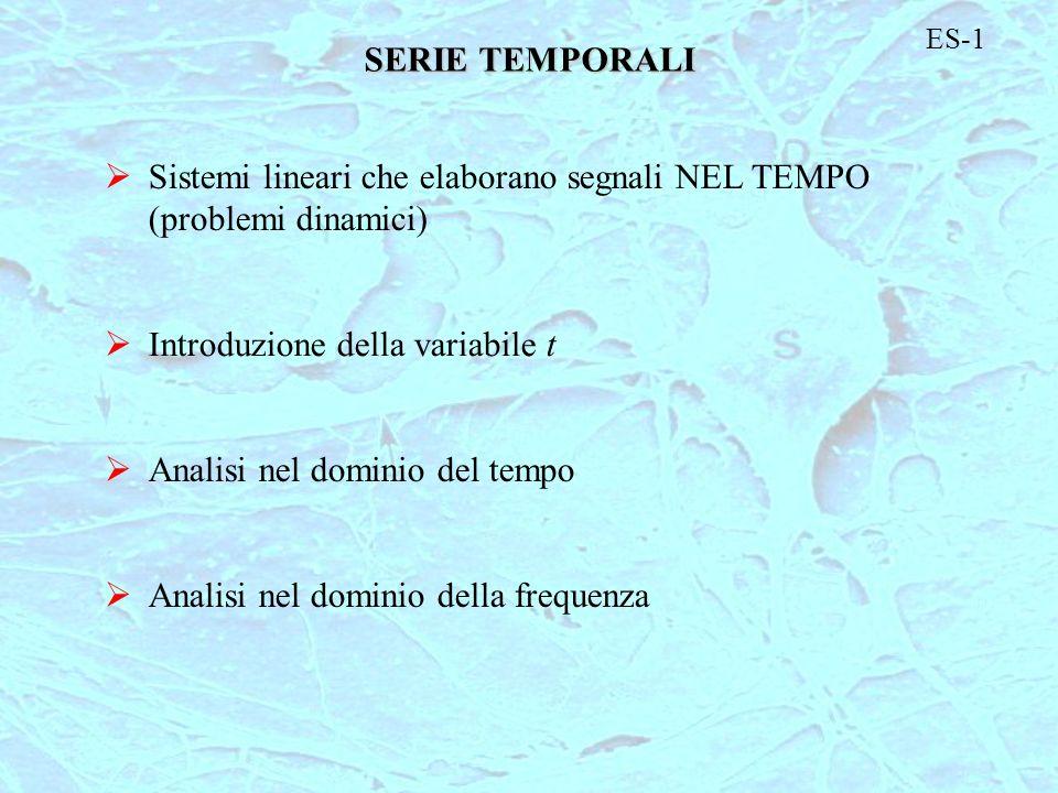 Sistemi lineari che elaborano segnali NEL TEMPO (problemi dinamici)