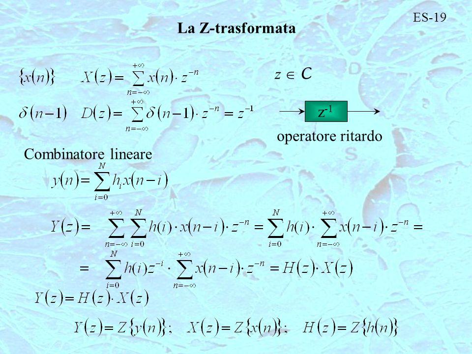 ES-19 La Z-trasformata z  C z-1 operatore ritardo Combinatore lineare