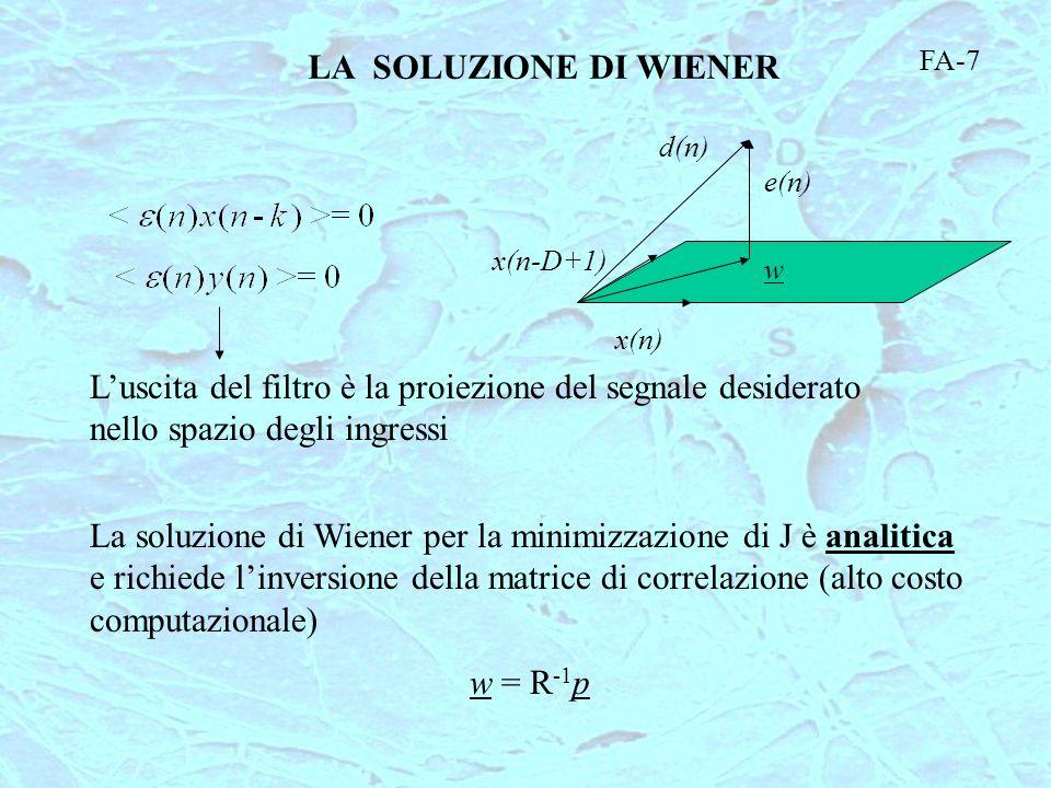LA SOLUZIONE DI WIENER FA-7. d(n) e(n) x(n-D+1) w. x(n) L'uscita del filtro è la proiezione del segnale desiderato nello spazio degli ingressi.
