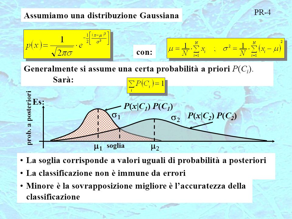 Assumiamo una distribuzione Gaussiana