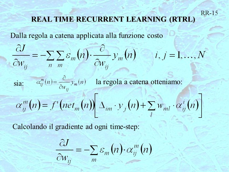 REAL TIME RECURRENT LEARNING (RTRL)