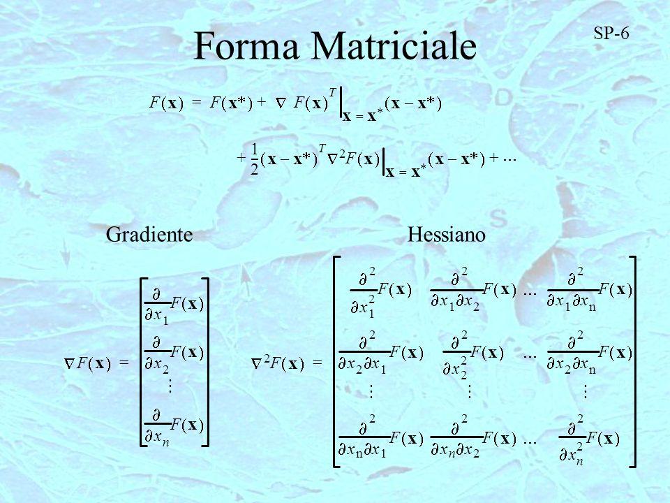 Forma Matriciale Gradiente Hessiano SP-6 x x x x x x x x x x x x x x x