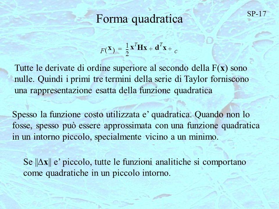 SP-17 Forma quadratica. 1. F. x. ( ) 2. - T. H. d. c. + = Tutte le derivate di ordine superiore al secondo della F(x) sono.
