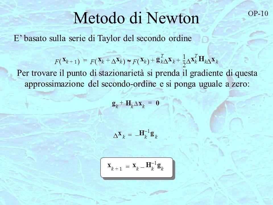 Metodo di Newton E' basato sulla serie di Taylor del secondo ordine