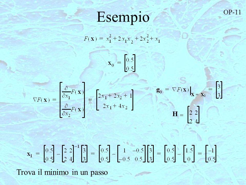 Esempio OP-11 2 2 H = 2 4 Trova il minimo in un passo