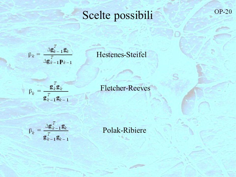 Scelte possibili OP-20 Hestenes-Steifel Fletcher-Reeves Polak-Ribiere