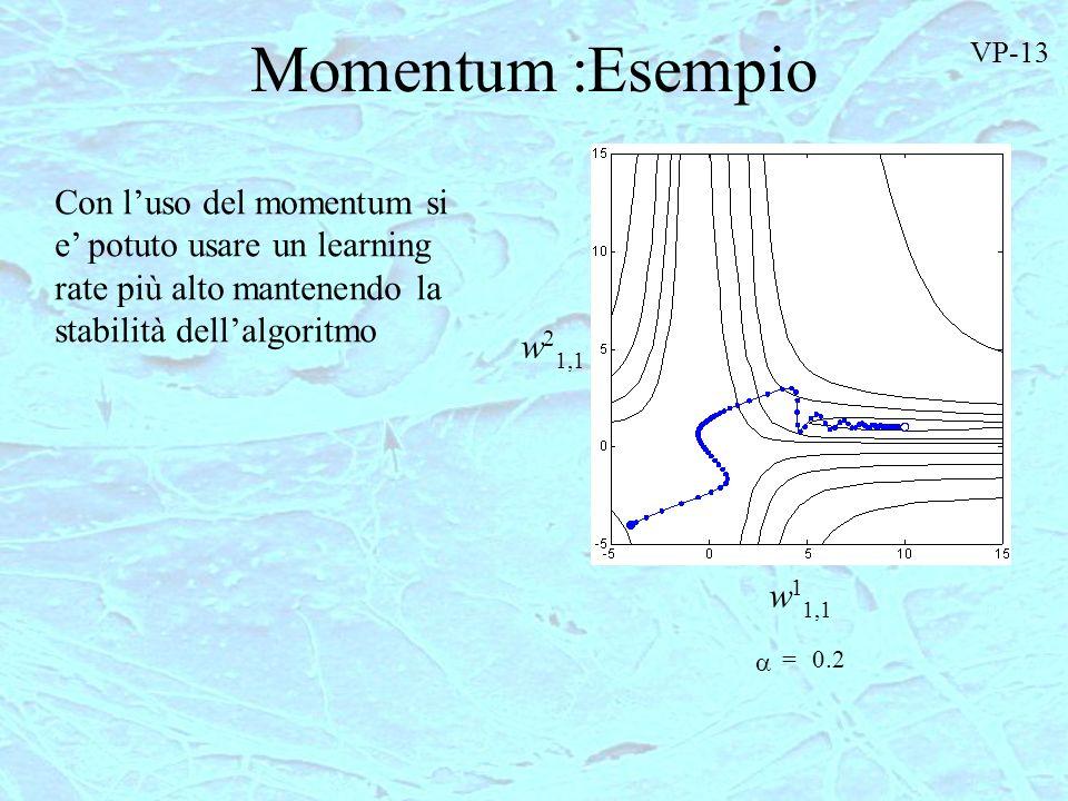 Momentum :Esempio VP-13. Con l'uso del momentum si e' potuto usare un learning rate più alto mantenendo la stabilità dell'algoritmo.