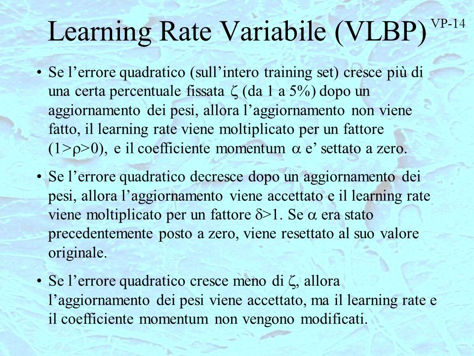 Learning Rate Variabile (VLBP)