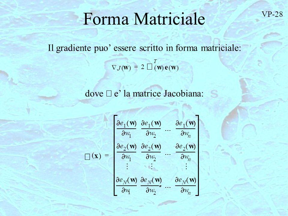Forma Matriciale Il gradiente puo' essere scritto in forma matriciale: