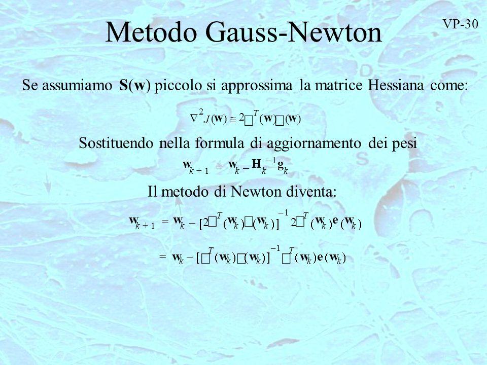 Metodo Gauss-Newton VP-30. Se assumiamo S(w) piccolo si approssima la matrice Hessiana come: 2. Ñ.