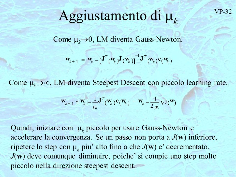 Aggiustamento di k Come k0, LM diventa Gauss-Newton.