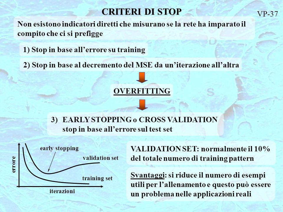 CRITERI DI STOP VP-37. Non esistono indicatori diretti che misurano se la rete ha imparato il compito che ci si prefigge.