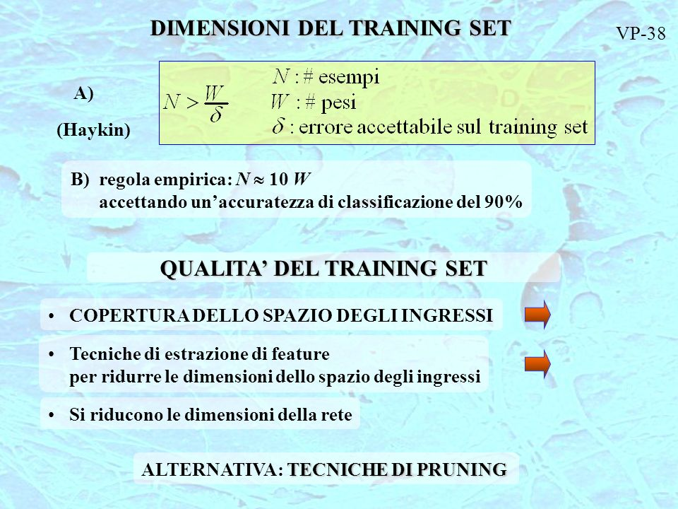 DIMENSIONI DEL TRAINING SET QUALITA' DEL TRAINING SET