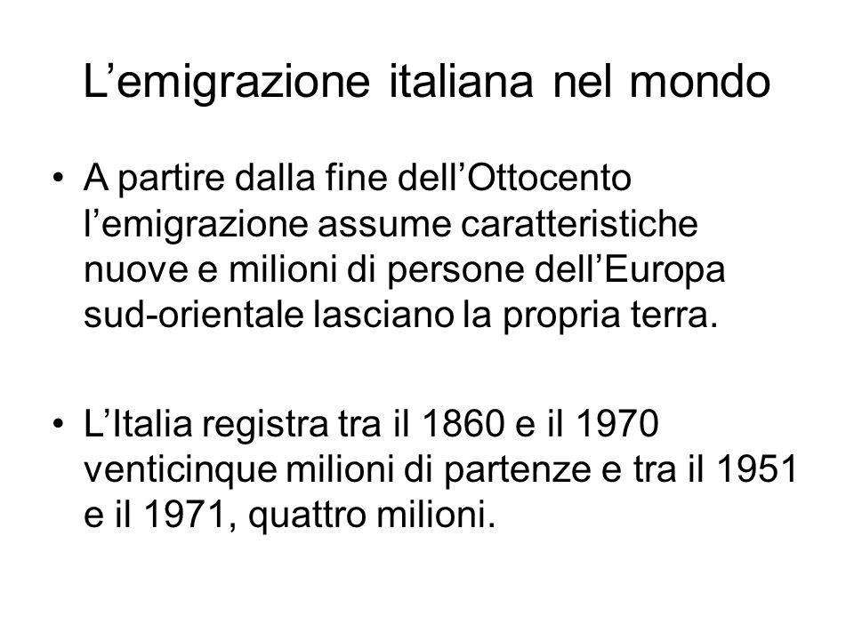 L'emigrazione italiana nel mondo