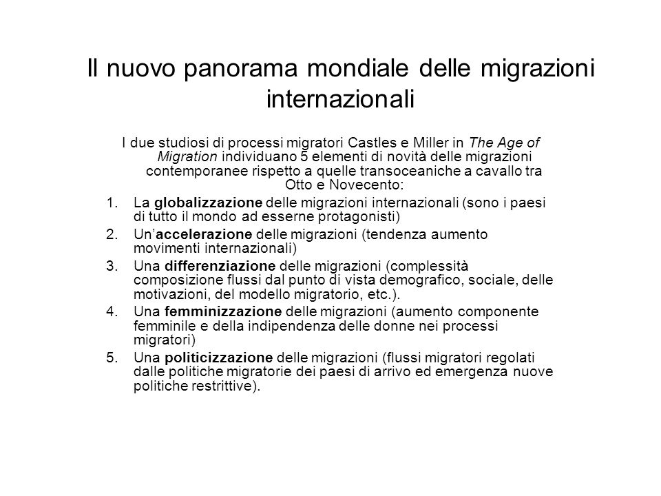 Il nuovo panorama mondiale delle migrazioni internazionali