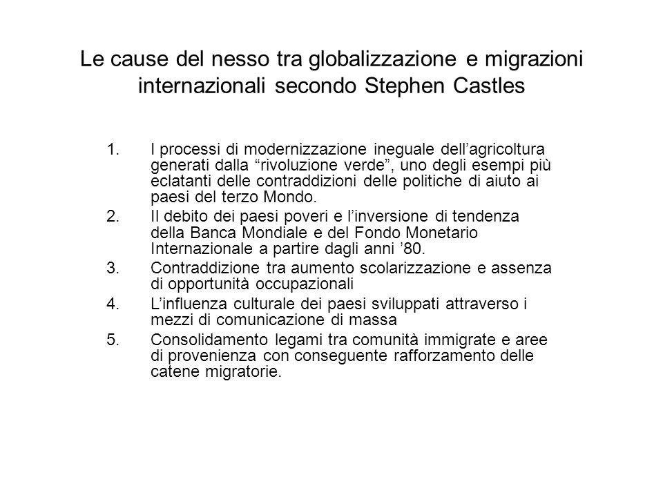 Le cause del nesso tra globalizzazione e migrazioni internazionali secondo Stephen Castles