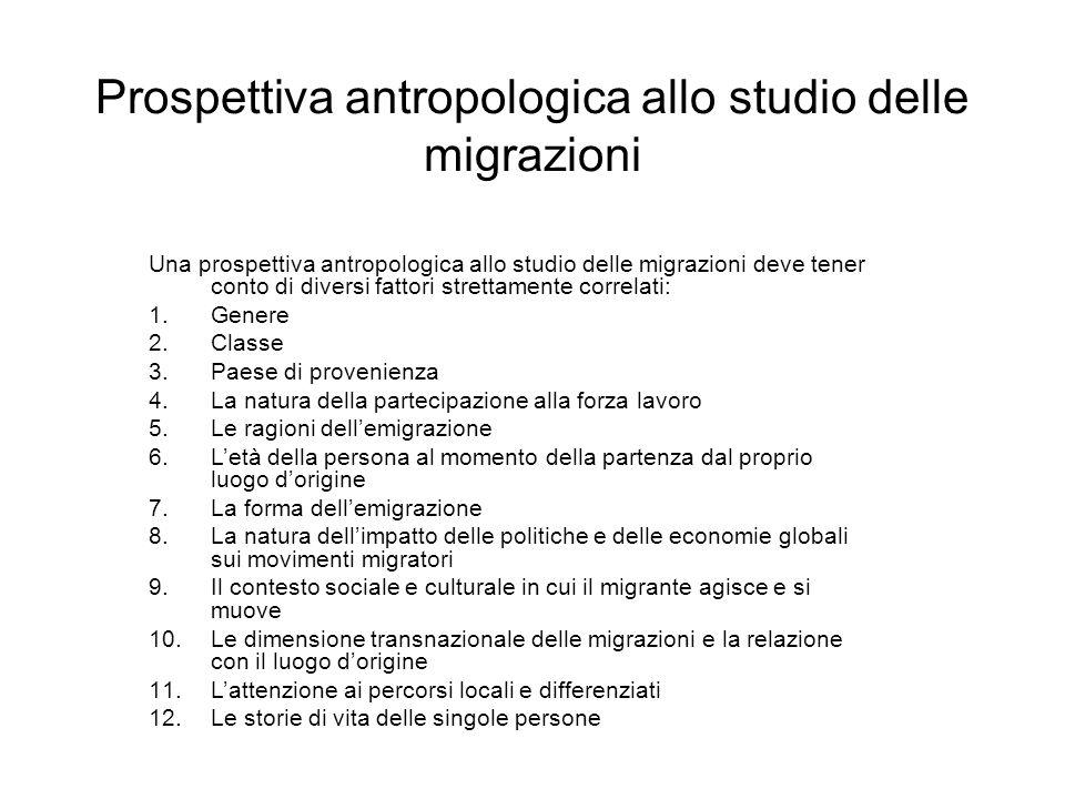 Prospettiva antropologica allo studio delle migrazioni