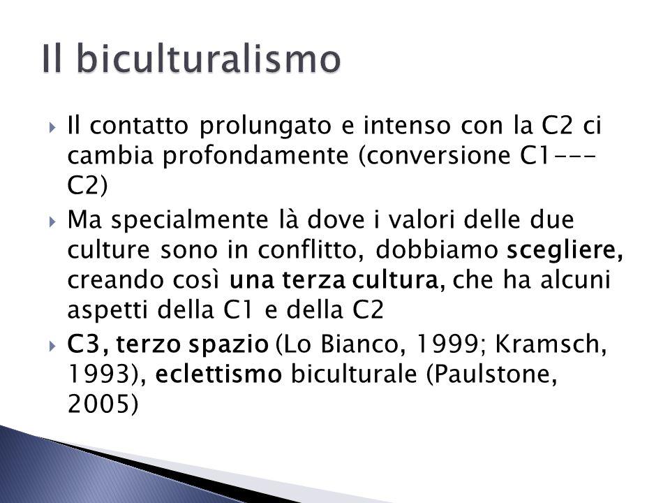 Il biculturalismo Il contatto prolungato e intenso con la C2 ci cambia profondamente (conversione C1--- C2)