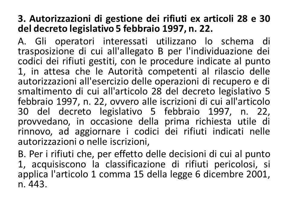 3. Autorizzazioni di gestione dei rifiuti ex articoli 28 e 30 del decreto legislativo 5 febbraio 1997, n. 22.