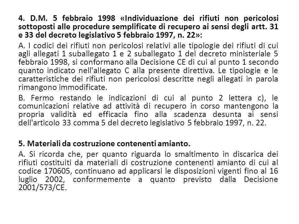 4. D.M. 5 febbraio 1998 «Individuazione dei rifiuti non pericolosi sottoposti alle procedure semplificate di recupero ai sensi degli artt. 31 e 33 del decreto legislativo 5 febbraio 1997, n. 22»:
